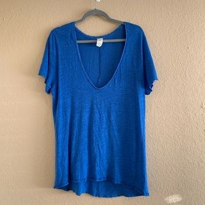 WE THE FREE Blue V-Neck Tee